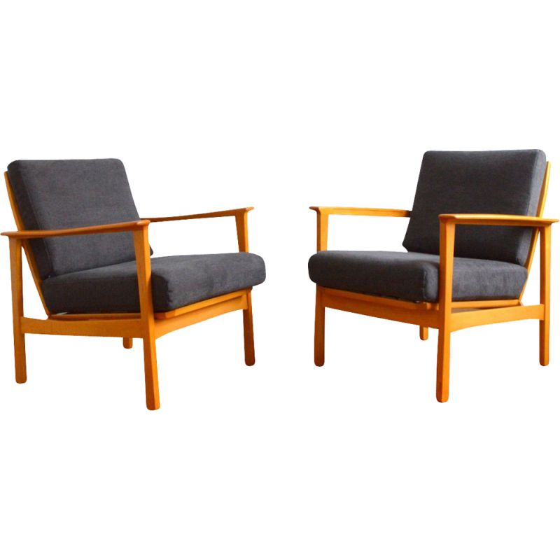 Pair of vintage beechwood armchairs with removable cushions, Scandinavian 1960