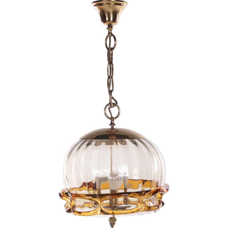 Mid-century Hollywood Regency pendant lamp with Murano glass by Fischer Leuchten, 1970s