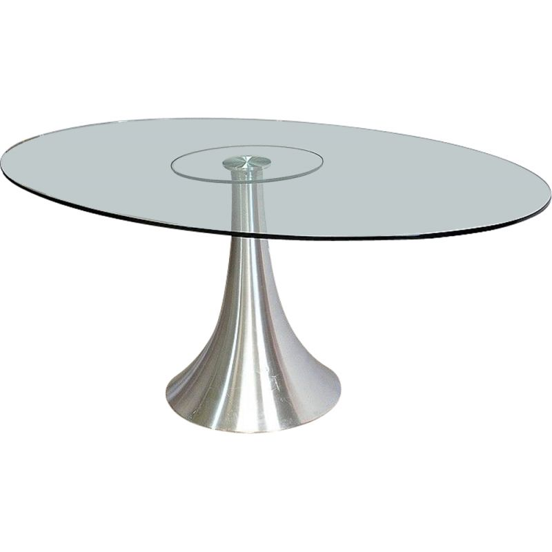 Oval dining table in tempered glass with brushed aluminum legs, 1970-1980s
