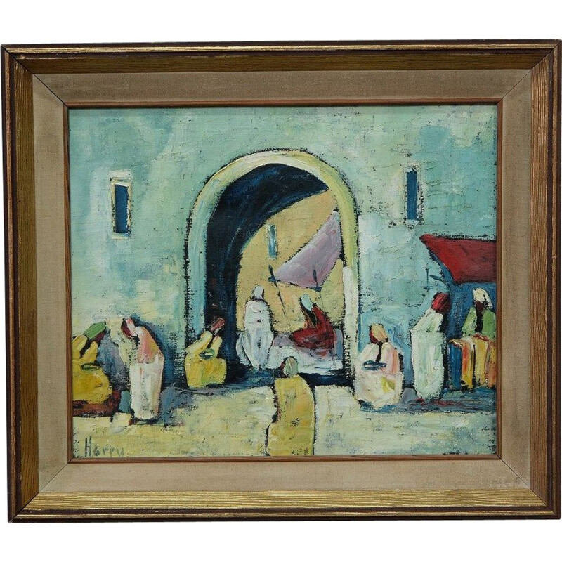 Oil painting modernist vintage canvas by Harry Olsson, Scandinavian 1950
