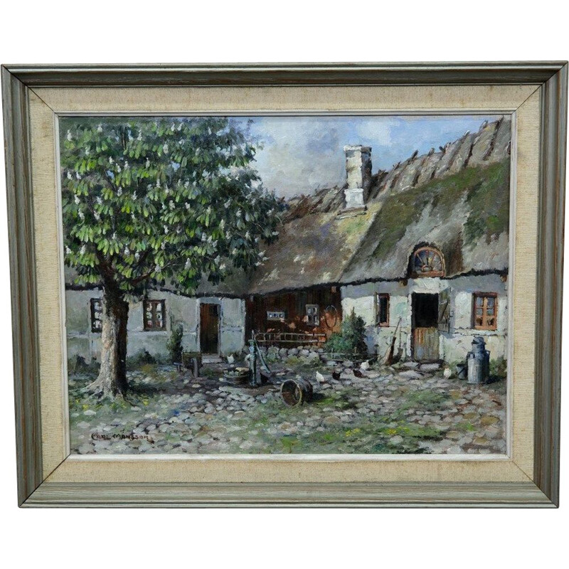 Scandinavian vintage oil painting on canvas by Carl Månsson, 1930