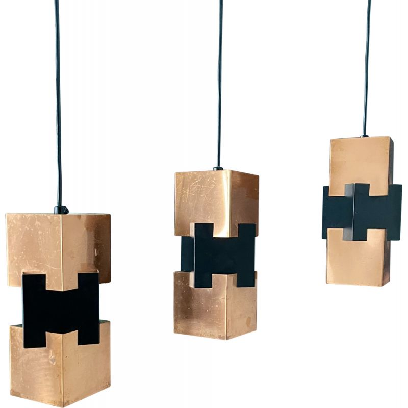 Suite of three vintage Danish Kubus copper and metal pendant lamps by Jo Hammerborg for Fog & Morup, 1960s