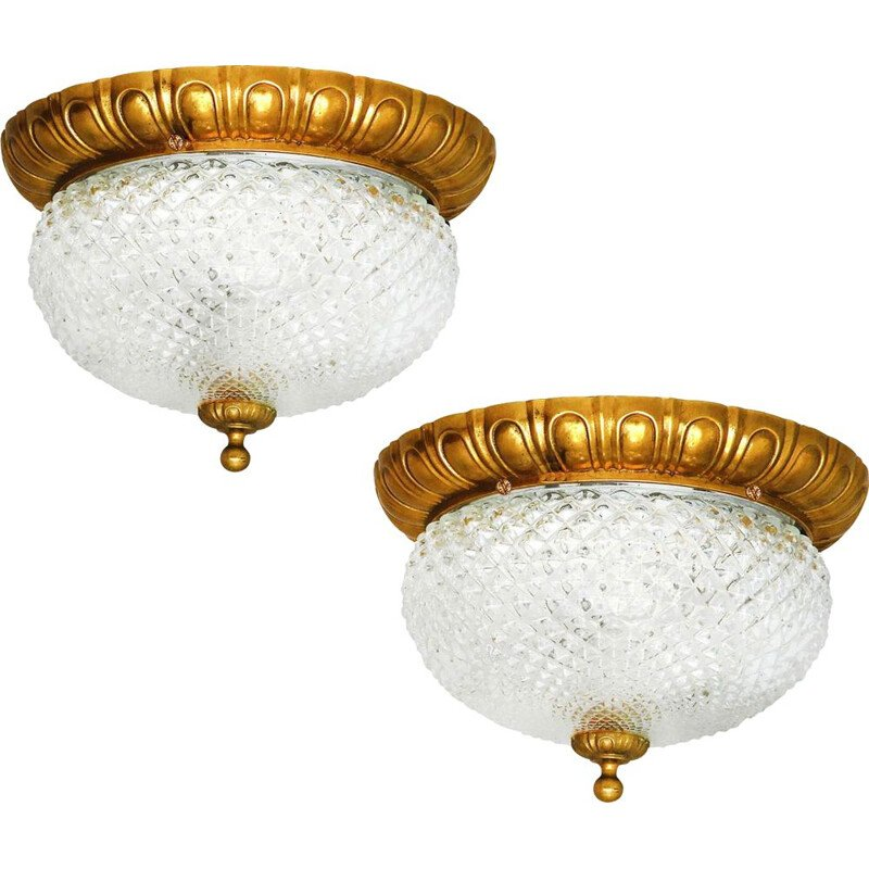 Pair of vintage ceiling lamps with curved amp shades, France 1960