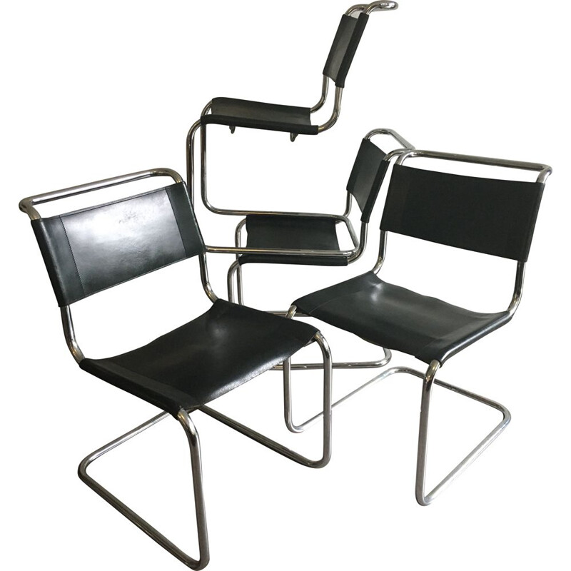 Set of 4 vintage B33 chairs by Marcel Breuer for Thonet, 1970s