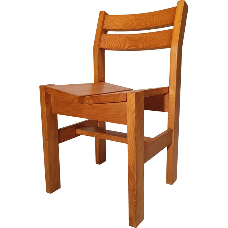 Vintage solid pine chair by Charlotte Perriand for Maison Regain, 1960s