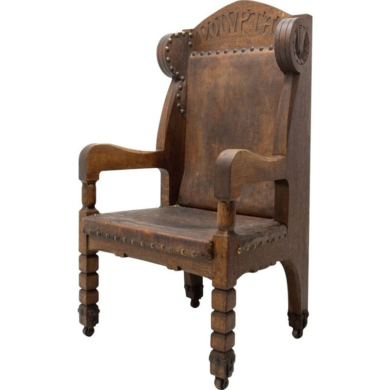 Mid-century late massive throne chair in historicist style