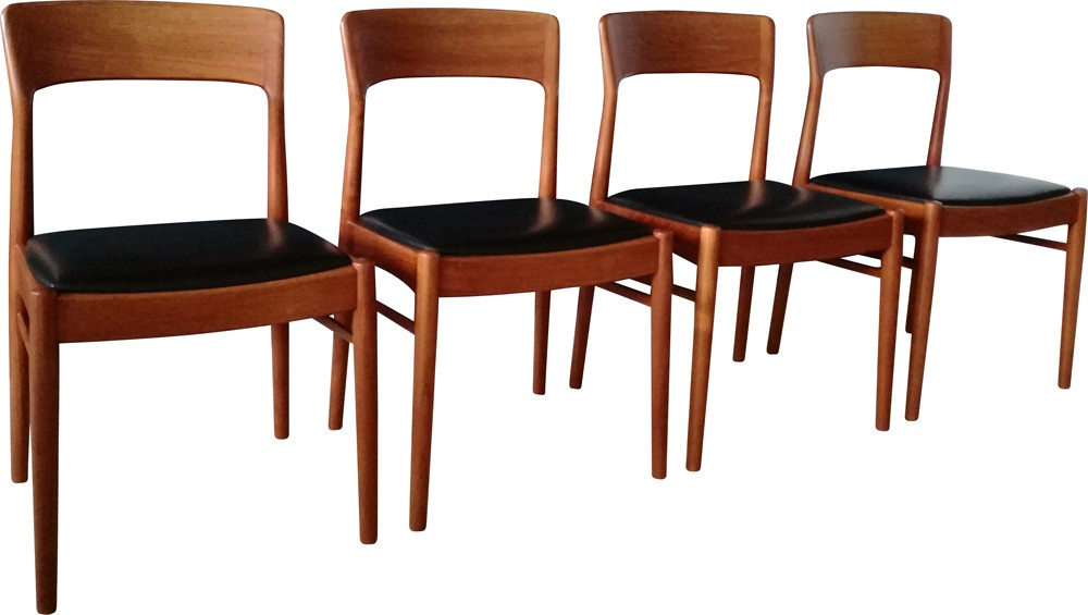Set of 4 Danish KS dining chairs in teak and black leatherette ... Ull Dining on