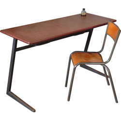 Mid-century school desk and chair in metal and wood - 1960s