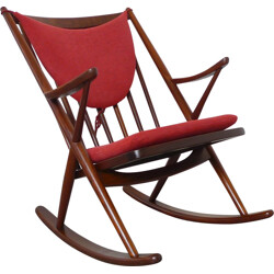 Bramin rocking chair in teak and red fabric, Frank REENSKAUG - 1958