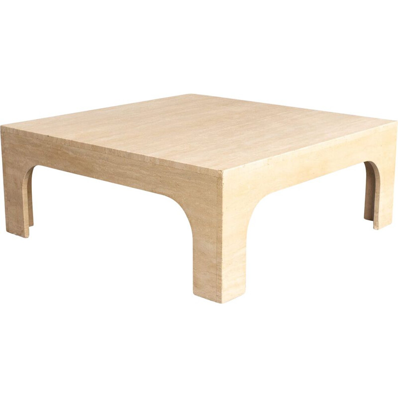 Mid-century travertine coffee table by Willy Rizzo