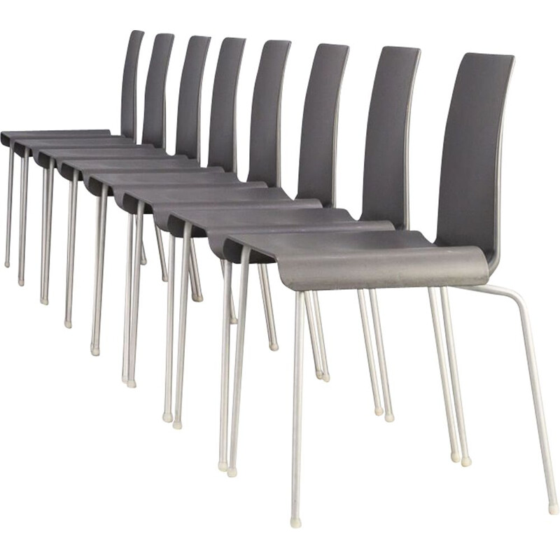 Set of 8 vintage metal and acrylic chairs by Uwe Fischer Tama for B&B, Italy 1990