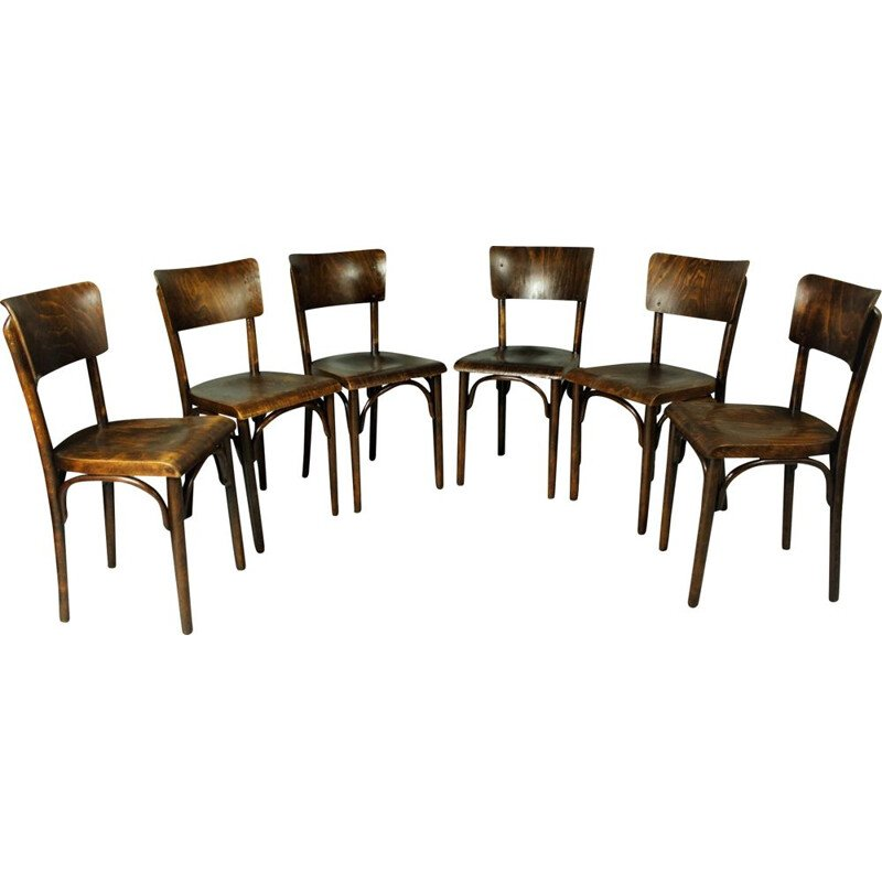 Set of 6 vintage pub chairs by Thonet, 1930s