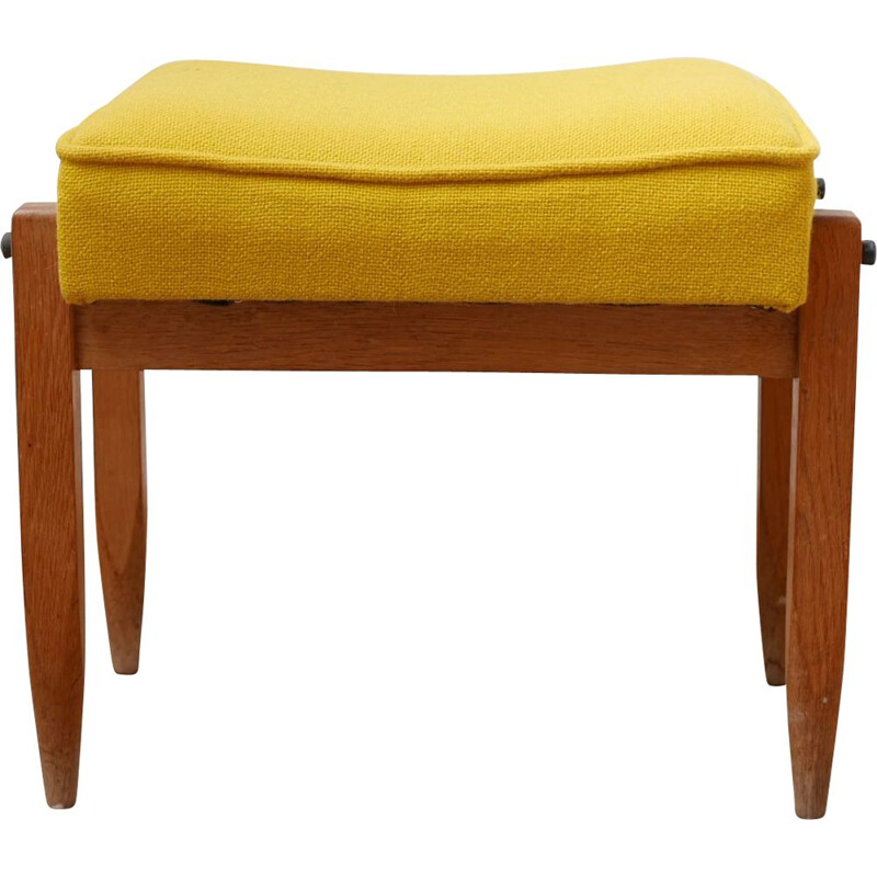 French mid-century oakwood stool by Guillerme et Chambron, 1960s
