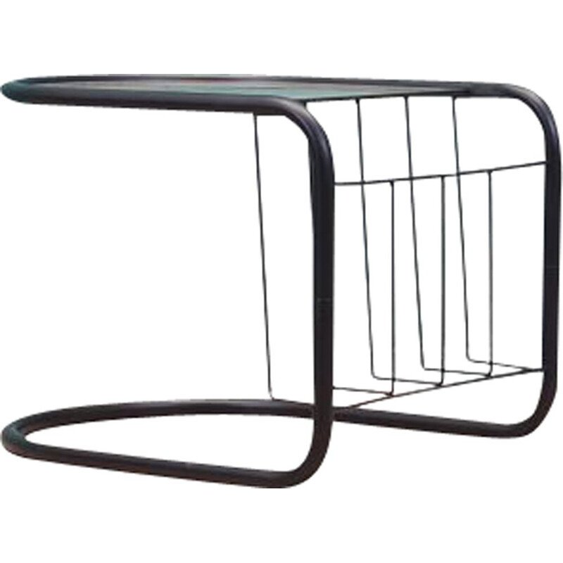 Vintage glass and metal side table with magazine rack, Denmark 1970