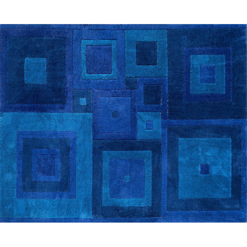 """Mid-century blue """"Square Dance"""" rug by Ross Littell, 1960s"""