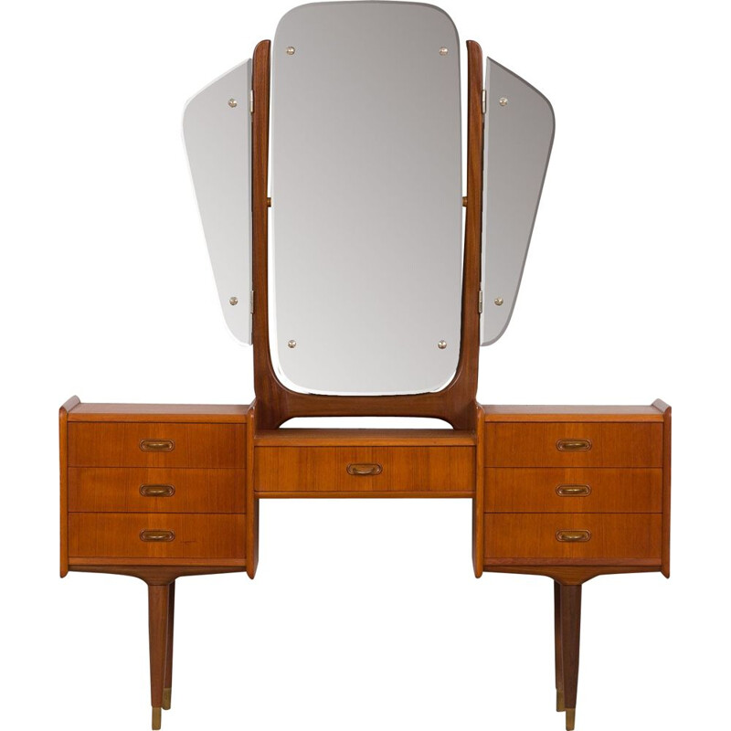 Scandinavian vintage teak dressing table with adjustable mirrors and 7 drawers, 1950