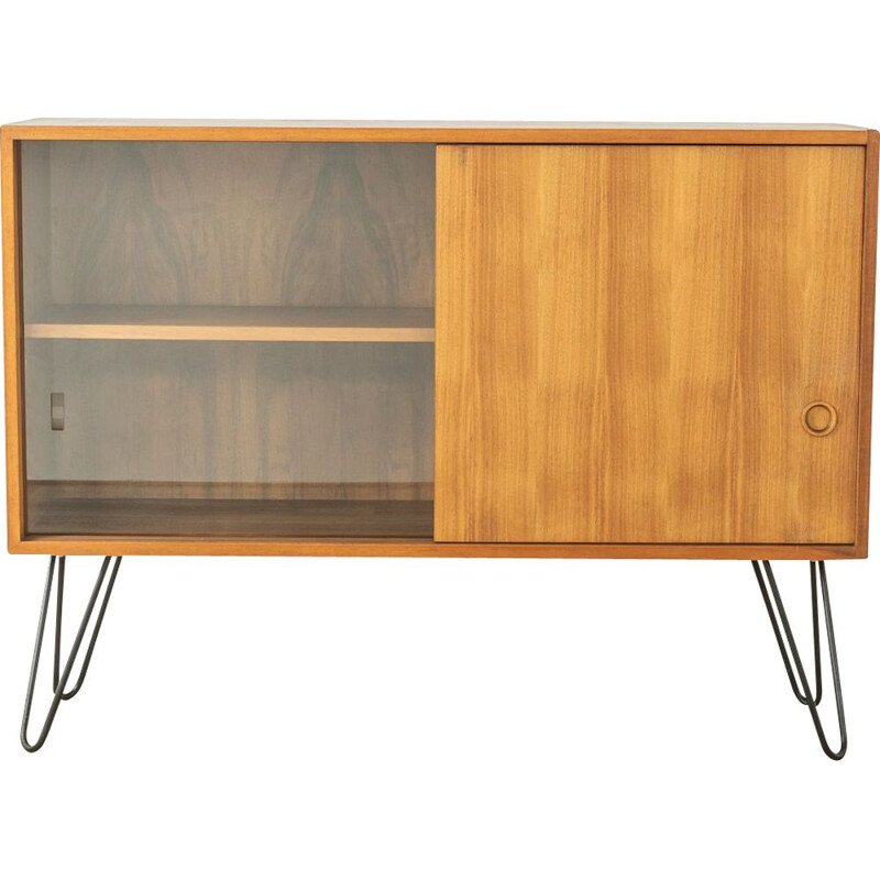 Vintage walnut highboard with one sliding glass door, Germany 1960s