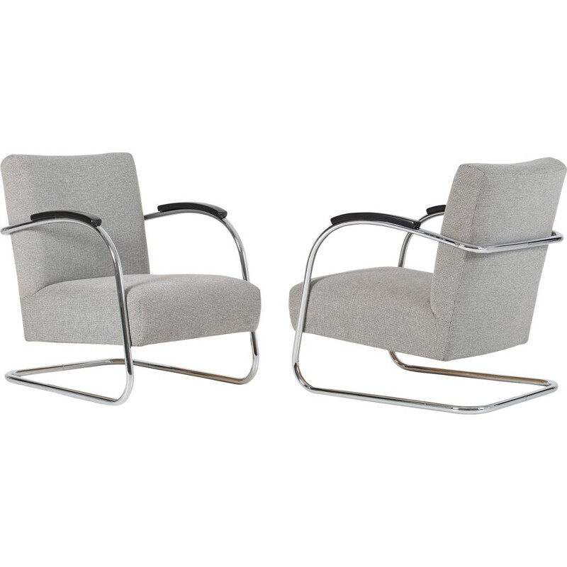 Pair of vintage cantilever armchairs by Mucke & Melder, 1930s