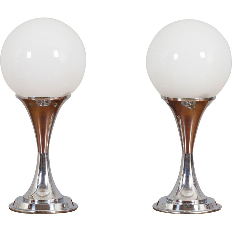 Pair of vintage chrome table lamps by Geoffredo Reggiani, Italy 1960s