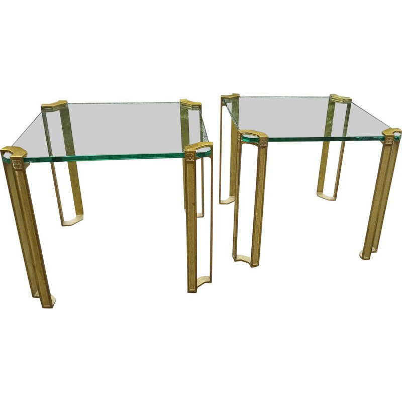 Pair of vintage coffee tables in brass and glass by Peter Ghyzy