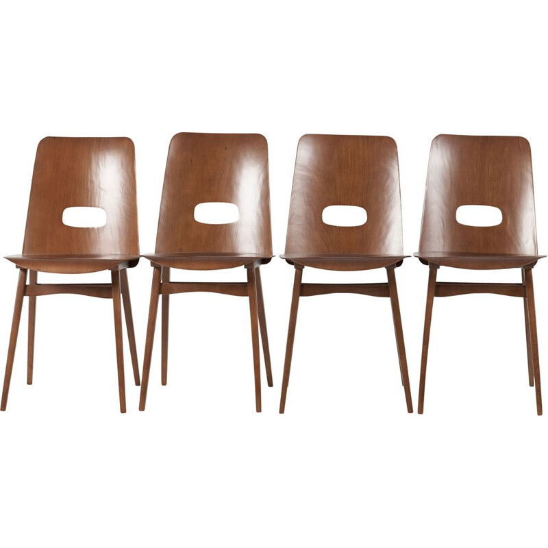 Set of 4 vintage chairs from TON, Czechoslovakia 1970s