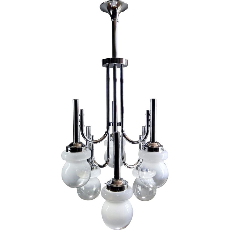 Space Age chrome and Murano glass chandelier six-light, Italy 1960s