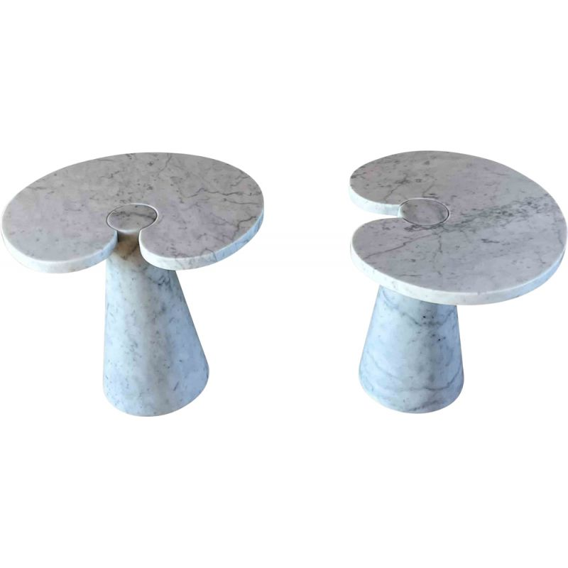 Pair of vintage white Carrara marble Eros side tables by Angelo Mangiarotti for Skipper, 1971