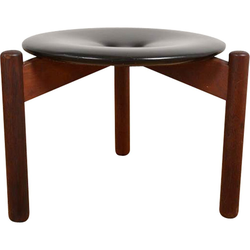Vintage leather and rosewood stool by Uno & Östen Kristiansson for Luxus, 1960