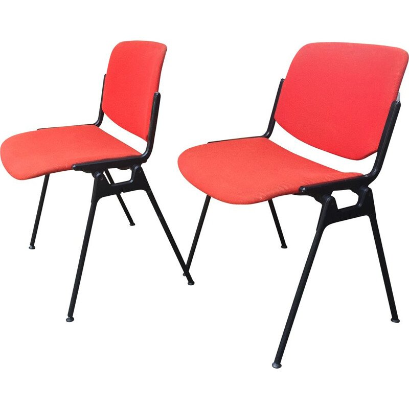 Pair of vintage Castelli coral red chairs