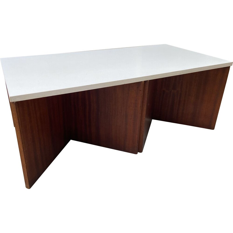 Vintage coffee table in melamine and rosewood by Pierre Guariche, 1971