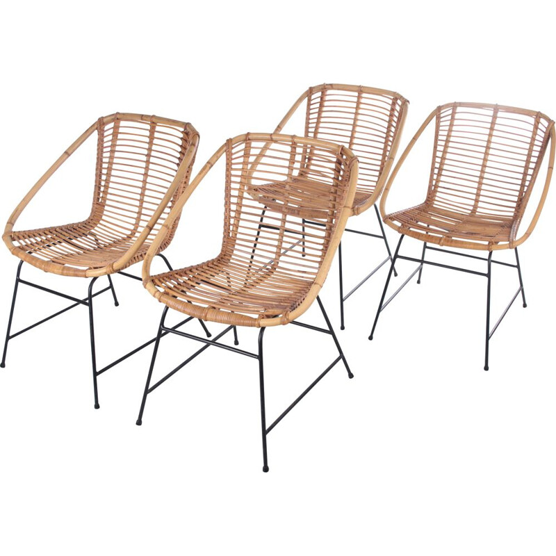 Set of 4 vintage bamboo chairs, 1960