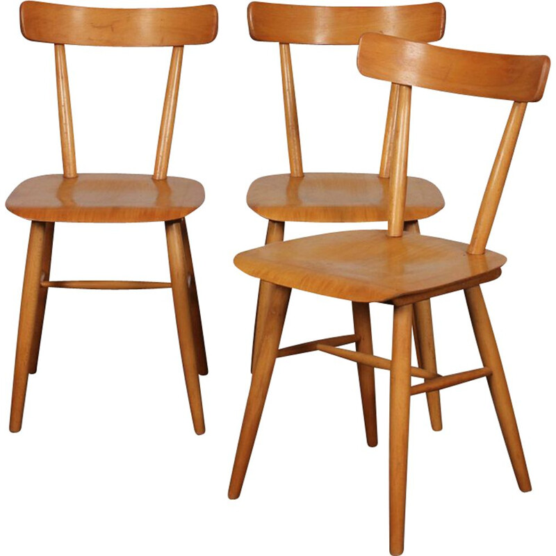 Set of 3 vintage chairs by Ton, Czech 1960