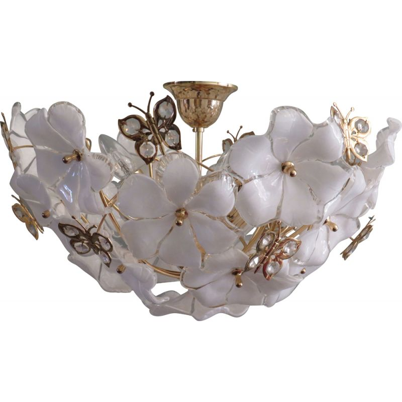 Vintage ceiling lamp transparent and white Murano glass, 1970s