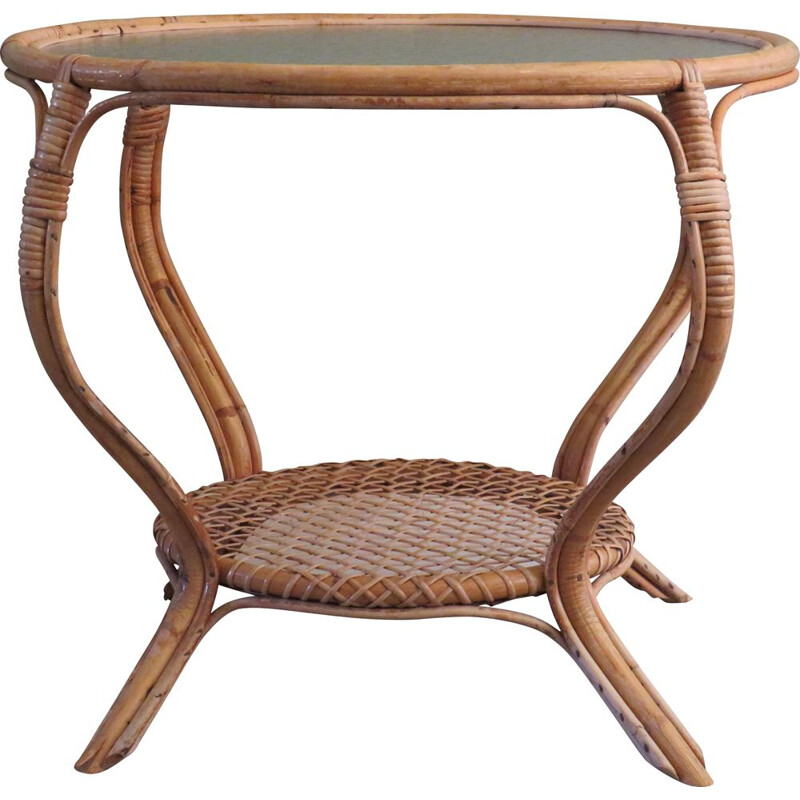 Round vintage bamboo and glass with bubbles coffee table, 1960s
