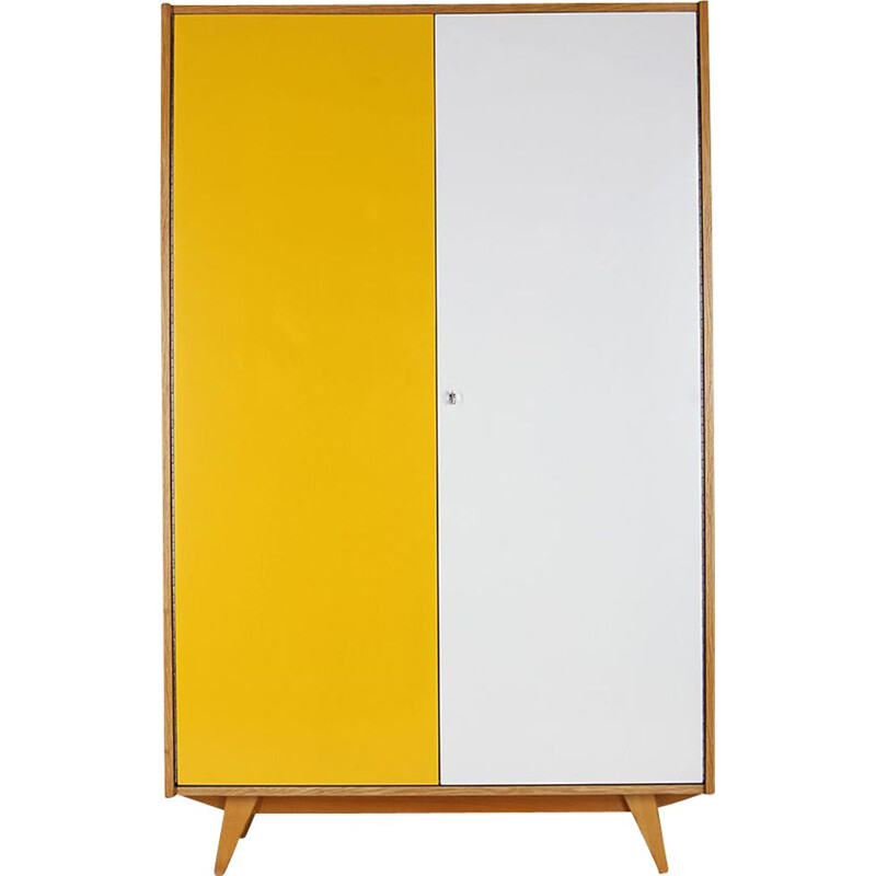 Mid century white and yellow cabinet by Jiri Jiroutek for Interier Praha, 1960s