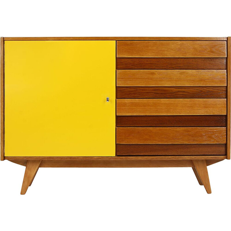 Mid century highboard with four drawers and yellow doors by Jiri Jiroutek for Interier Praha, 1960s