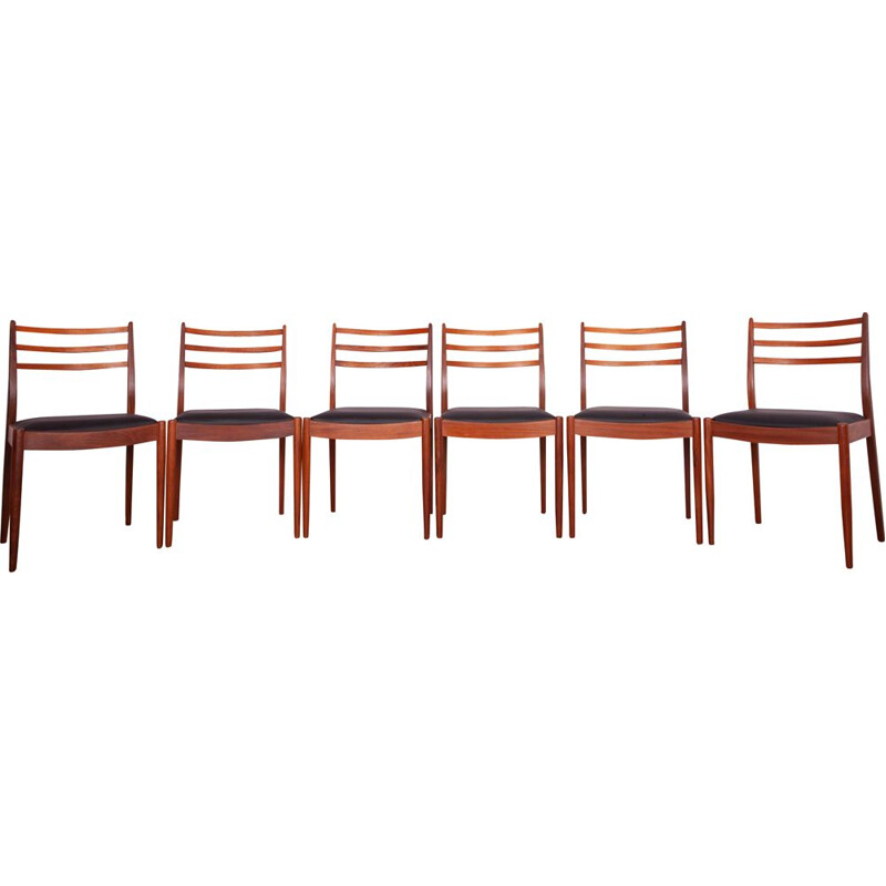 Set of 6 vintage teak and black leather dining chairs by Victor Wilkins for G-Plan, 1960s