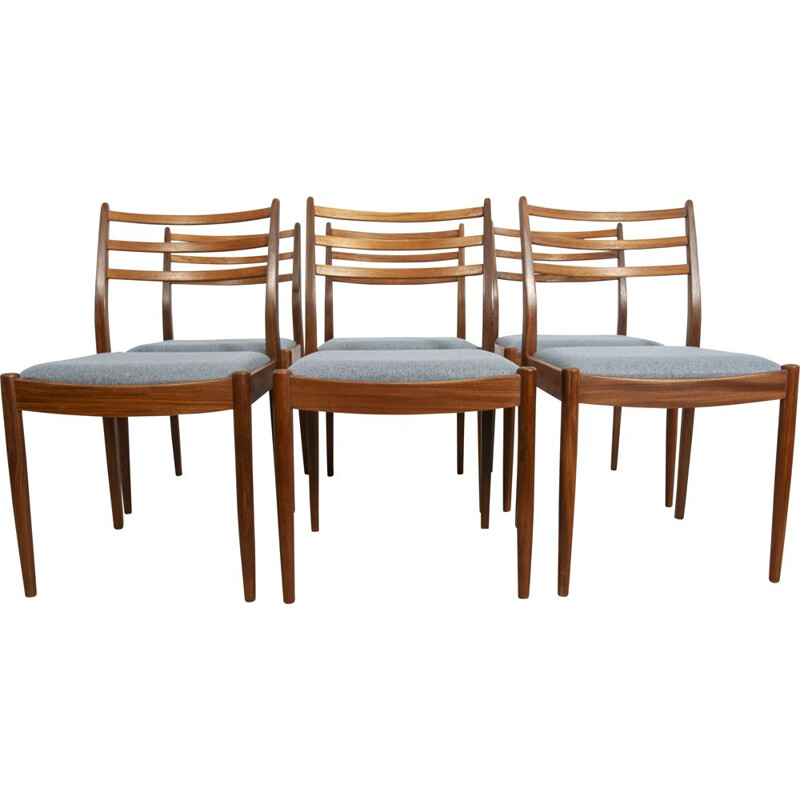 Set of 6 vintage teak and blue fabric dining chairs by Victor Wilkins for G-Plan, 1960s