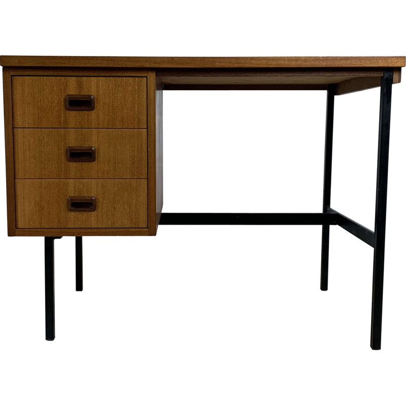 Vintage double-sided teak desk by Jacques Hitier, 1960