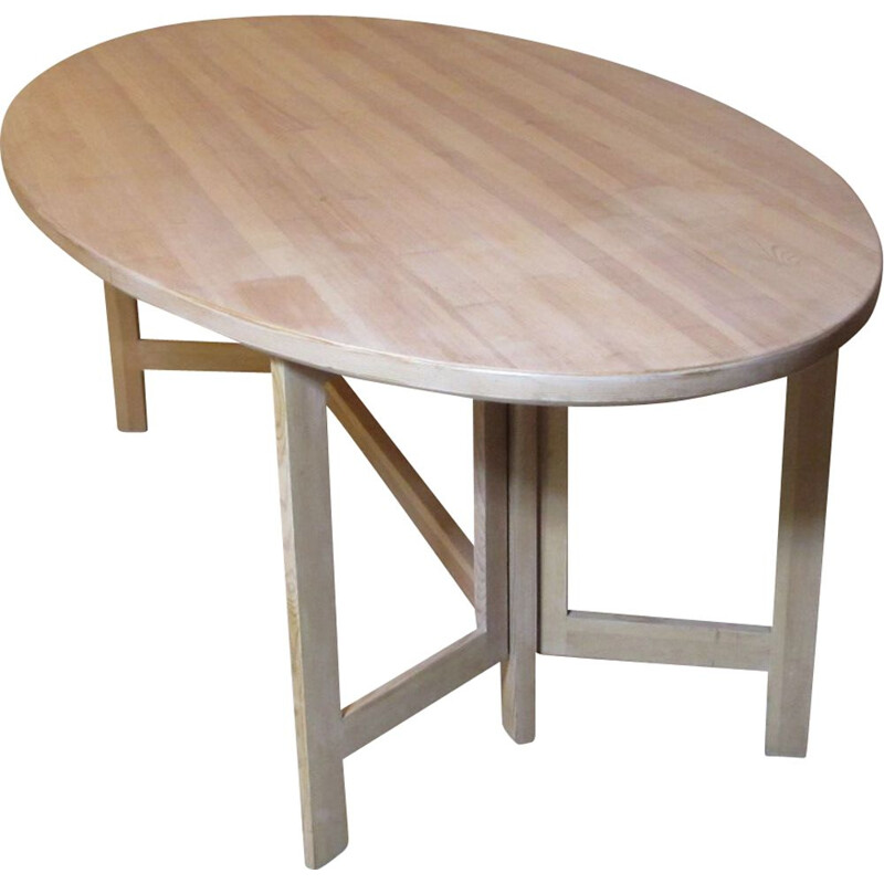 Vintage dining table in lime-washed pine by Olof Pira