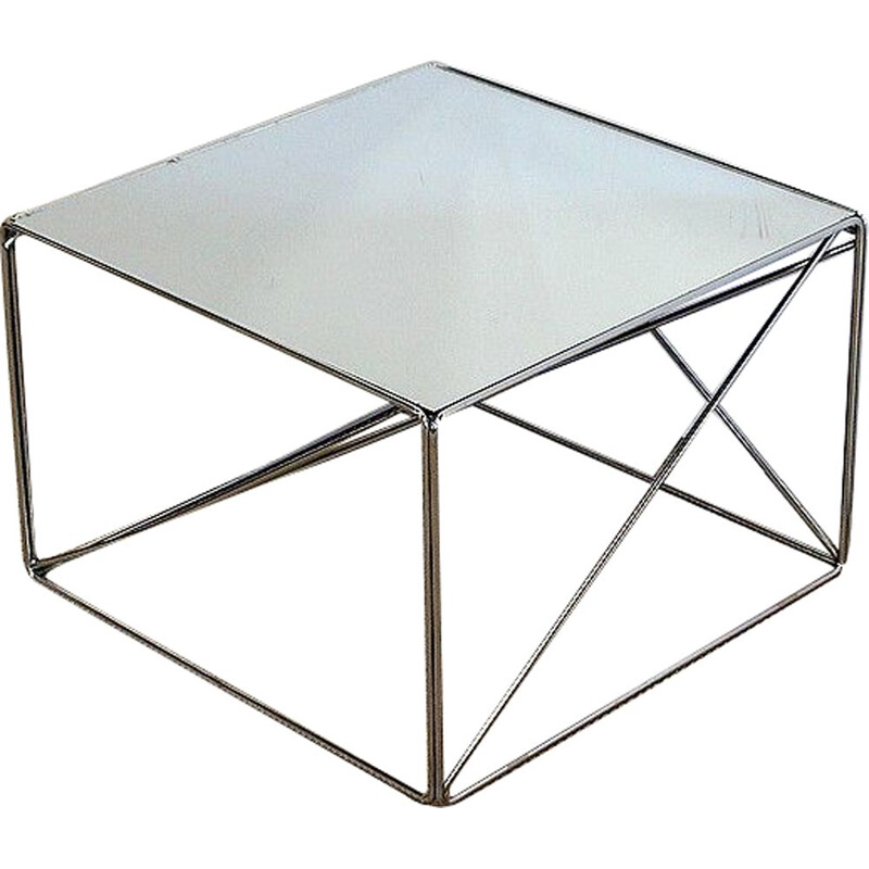 Vintage chrome-plated metal coffee table by Max Sauze, France 1970