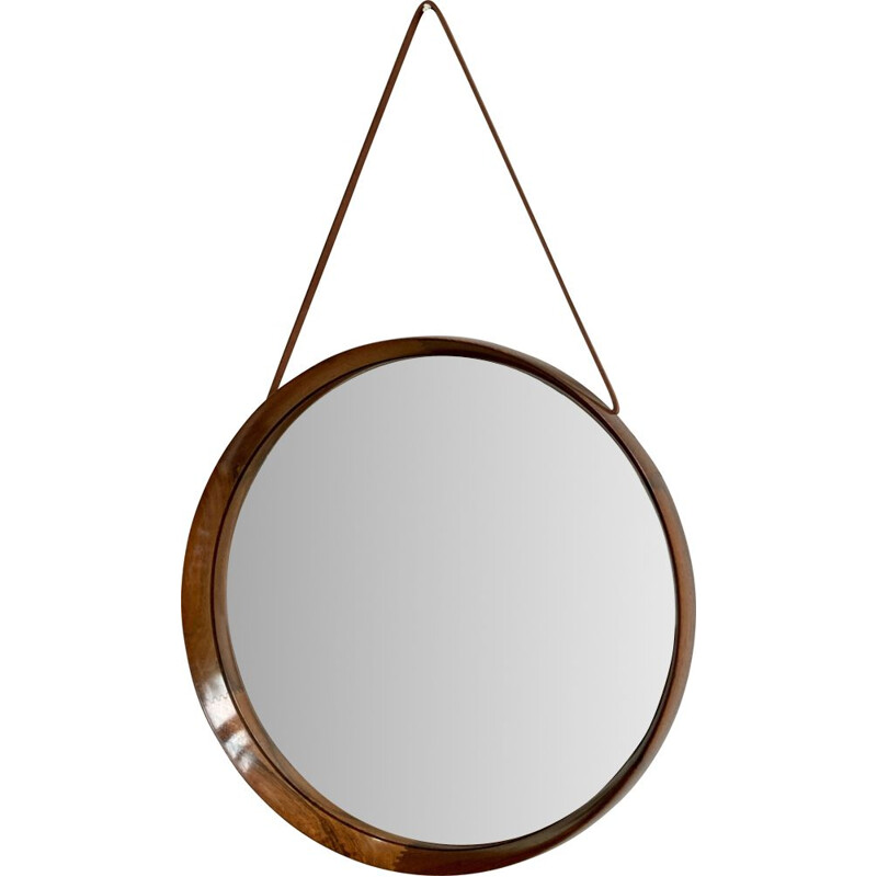 Rosewood & leather vintage wall mirror by Uno & Östen Kristiansson for Luxus Sweden