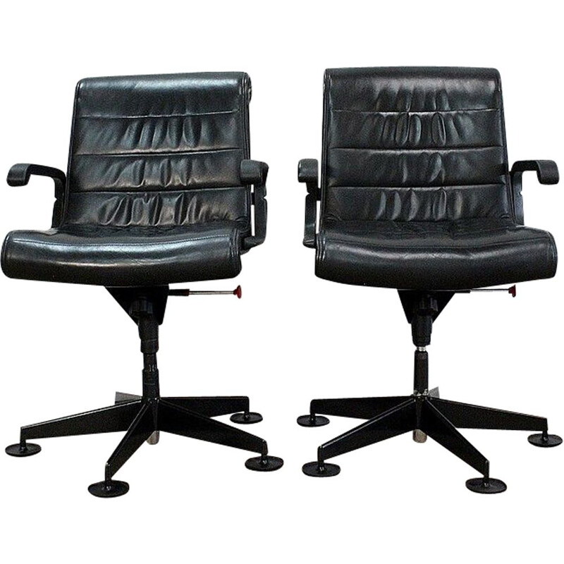 Pair of vintage leather office chairs by Richard Sapper for Knoll, 1979