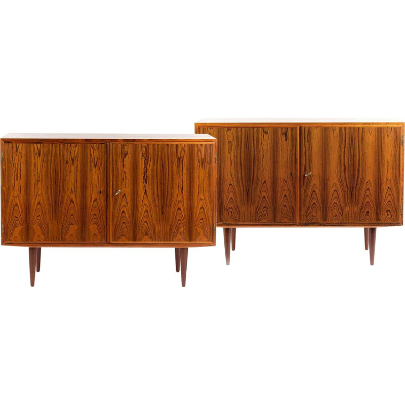 Pair of vintage rosewood Danish highboards by Carlo Jensen for Hundevad & Co, 1960s