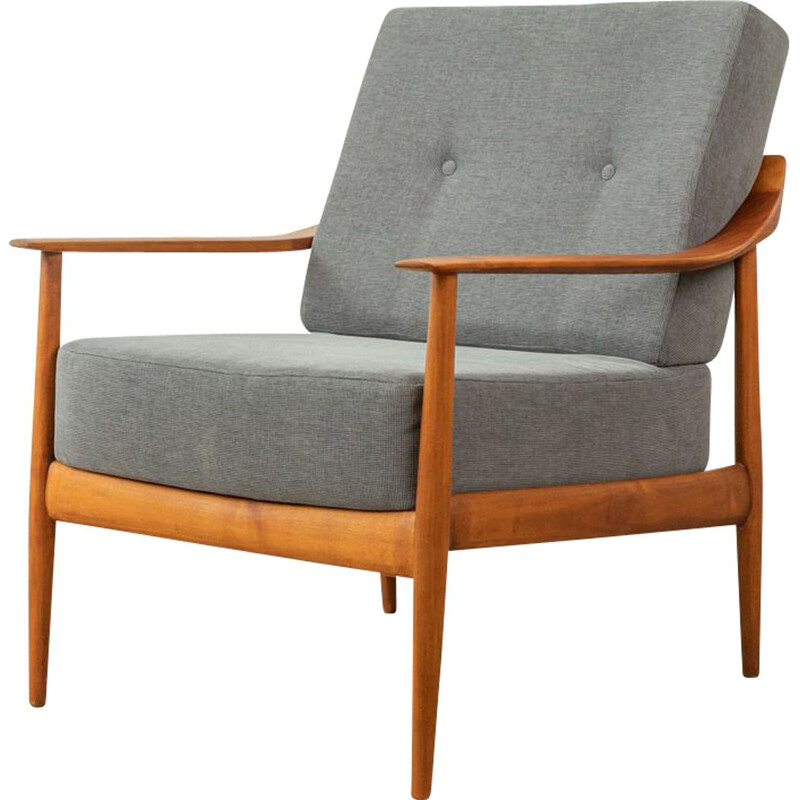 Mid century cherry wood and grey fabric armchair by Knoll Antimot, Germany 1960s