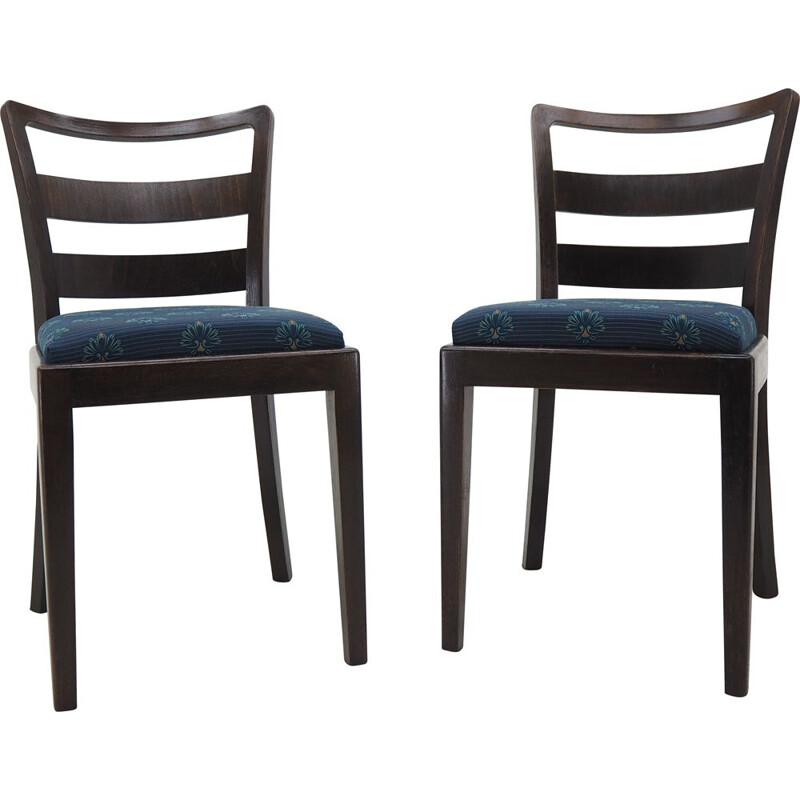 Pair of vintage Art Deco wood and fabric dining chairs, 1930s