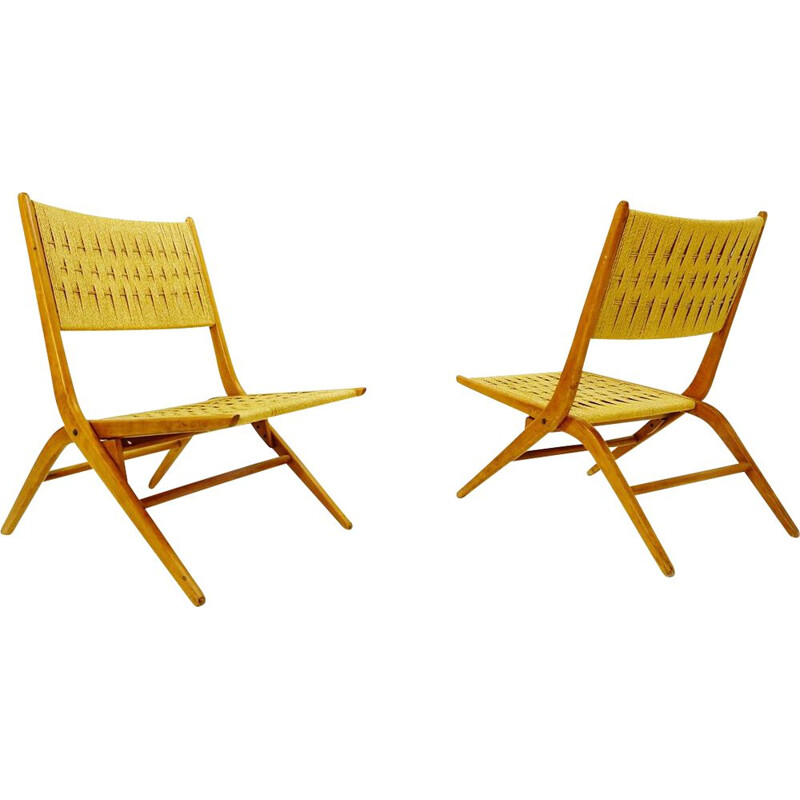 Pair of vintage folding rope lounge chairs, 1960s