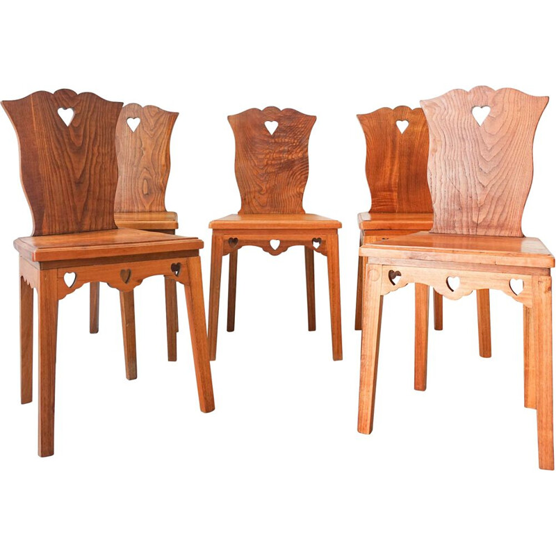 Set of 5 Portuguese chairs of modern neo-rustic style, Portugal 1940