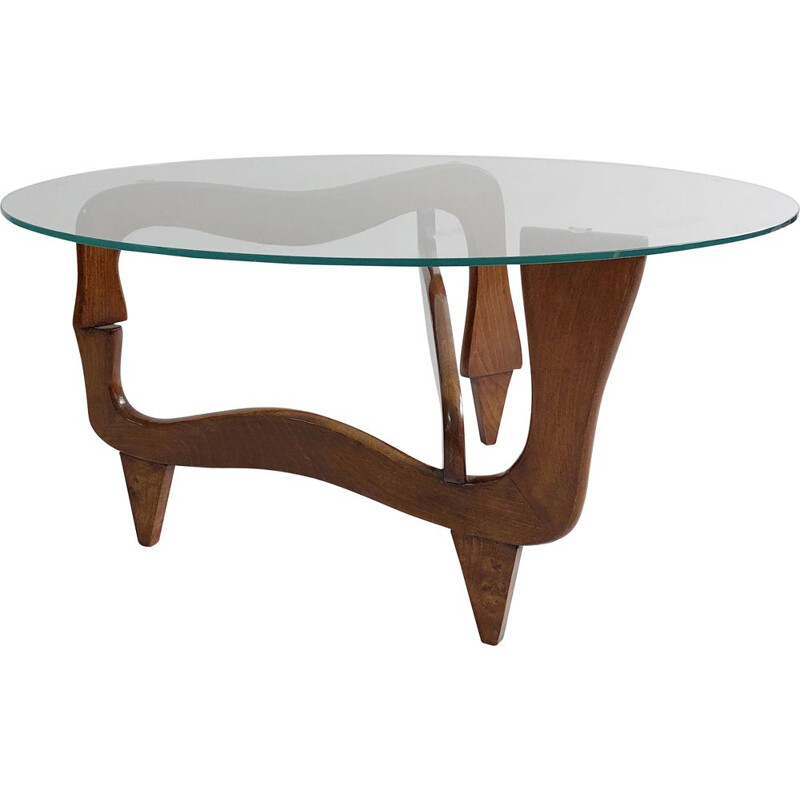 Vintage polymorphic teak and glass coffee table, 1950s