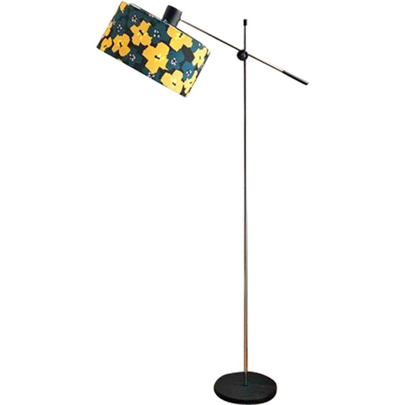 Vintage floor lamp with chromed metal base and shade